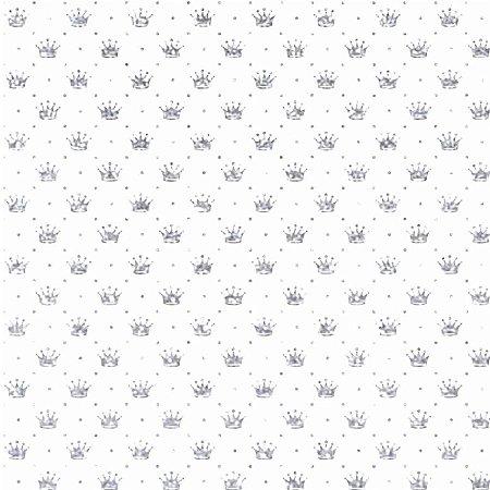 Tricoline Coroa Cinza Fundo Branco, 100%Algod, 50cm x 1,50mt
