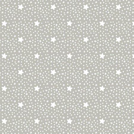 Tecido Tricoline Estrelinhas Cinza 100%Algodão, 50cm x 1,50m