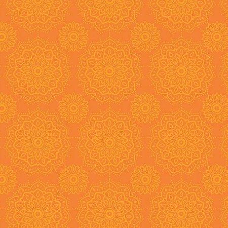 Tricoline Mandalas Laranja, 100% Algodão, 50cm x 1,50mt