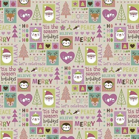 Tricoline Natal Candy Christmas 06, 100%Algod, 50cm x 1,50mt