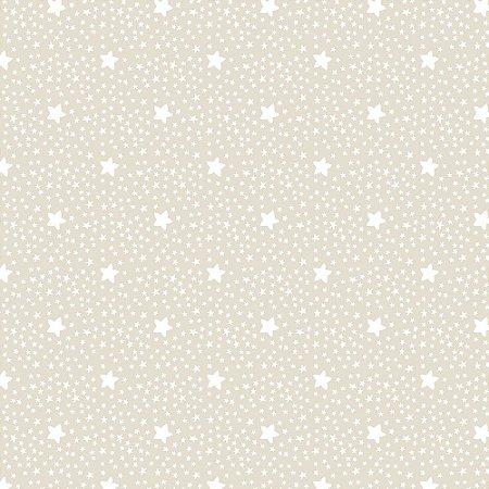 Tricoline Estrelinha Marfim, 100% Algodão, 50cm x 1,50mt