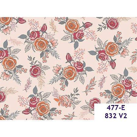 Tricoline Estampado Floral, 100% Algodão, 50cm x 1,50mt