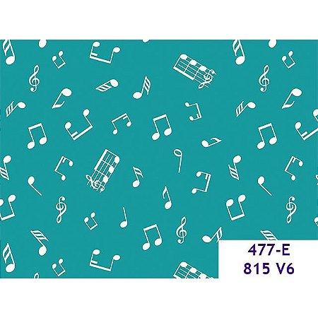 Tricoline Notas Musicais Verde, 100% Algodão, 50cm x 1,50m