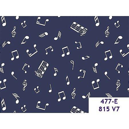Tricoline Notas Musicais Marinho, 100% Algodão, 50cm x 1,50m