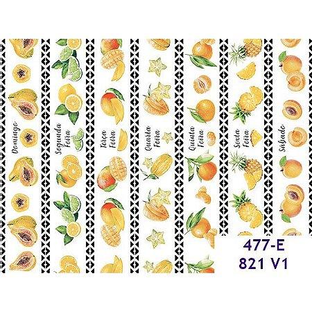 Tricoline Frutas Semaninha, 100% Algodão, 50cm x 1,50mt