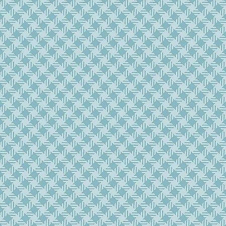 Tricoline Quadradinhos Turquesa, 100% Algodão, 50cm x 1,50mt