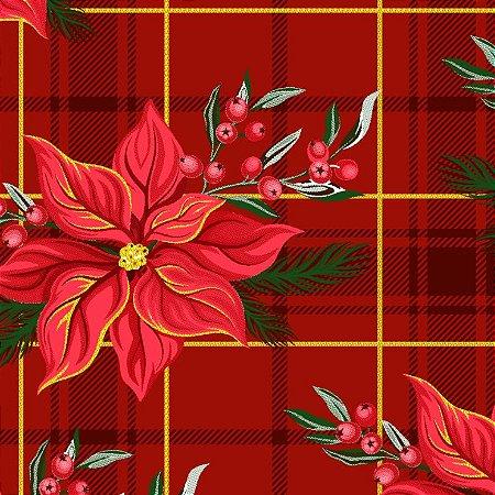 Tricoline Natal Xadrez Floral Vermelho, 100%Alg 50cm x 1,50m