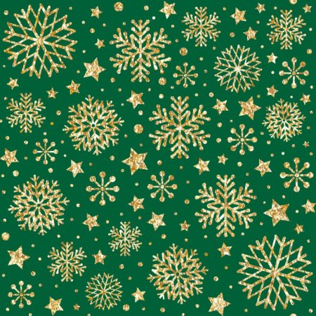 Tricoline Natal Neve Dourada F Verde, 100% Alg 50cm x 1,50mt