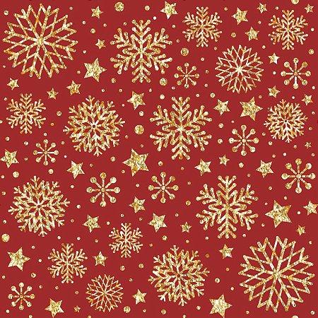 Tricoline Natal Neve Dourada F Vermelho 100%Alg 50cm x 1,50m