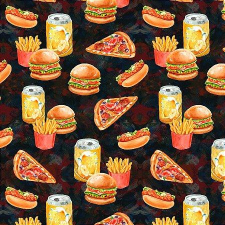 Tricoline Digital Fast Food, 100% Algodão, 50cm x 1,50mt