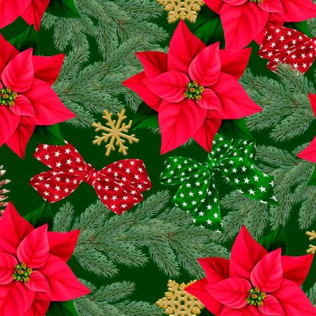 Tricoline Digital Natal Flores e Laços F Verde, 50cm x 1,50m