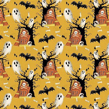 Tricoline Digital Halloween F Amarelo, 100%Alg, 50cm x 1,50m