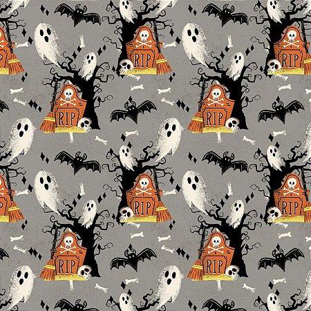 Tricoline Digital Halloween F Cinza, 100% Alg, 50cm x 1,50mt