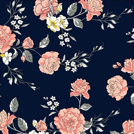 Tecido Tricoline Floral F. Marinho, 100% Algod, 50cm x 1,50m