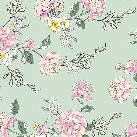 Tecido Tricoline Floral F. Menta, 100% Algodão, 50cm x 1,50m