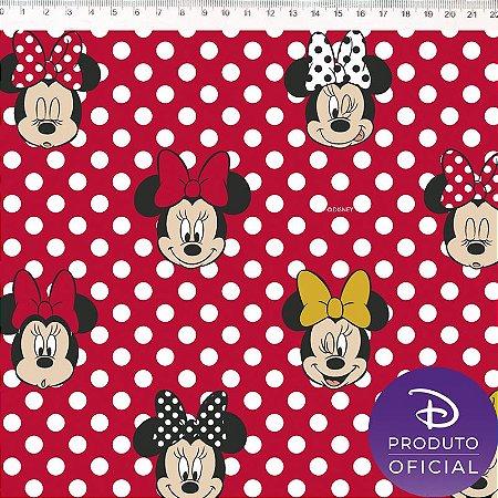 Tricoline Personagem Minnie com Poá Vermelho , 100% Algodão, Unid. 50cm x 1,50mt
