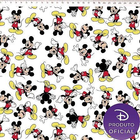 Tricoline Personagem Mickey Fundo Branco , 100% Algodão, Unid. 50cm x 1,50mt