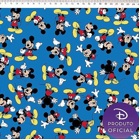 Tricoline Personagem Mickey Fundo Azul , 100% Algodão, Unid. 50cm x 1,50mt