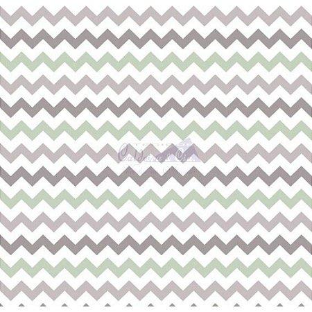 Tricoline Estampado Chevron Zarah - Cor-13 (Verde Com Cinza), 100% Algodão, Unid. 50cm x 1,50mt