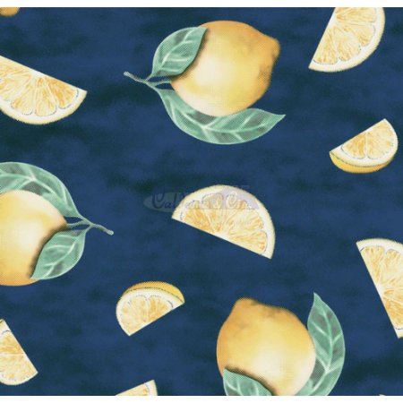 Tricoline Estampado Limão Fatiado - Cor-01 (Marinho), 100% Algodão, Unid. 50cm x 1,50mt