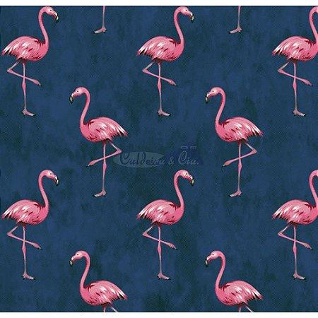 Tricoline Estampado Flamingo - Cor-01 (Marinho), 100% Algodão, Unid. 50cm x 1,50mt