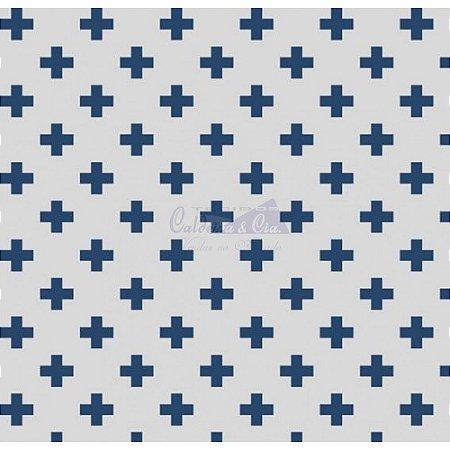 Tricoline Estampado Plus - Cor-06 (Marinho), 100% Algodão, Unid. 50cm x 1,50mt