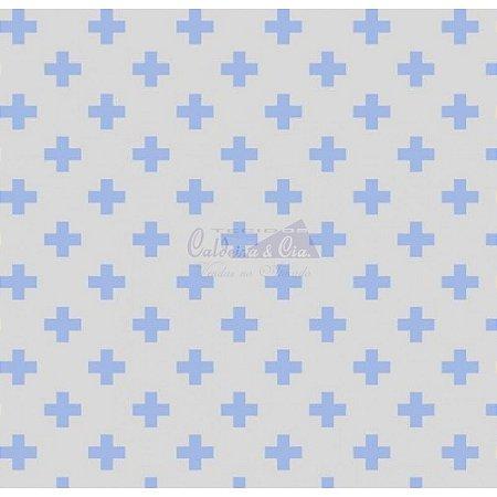 Tricoline Estampado Plus - Cor-04 (Azul com Cinza), 100% Algodão, Unid. 50cm x 1,50mt