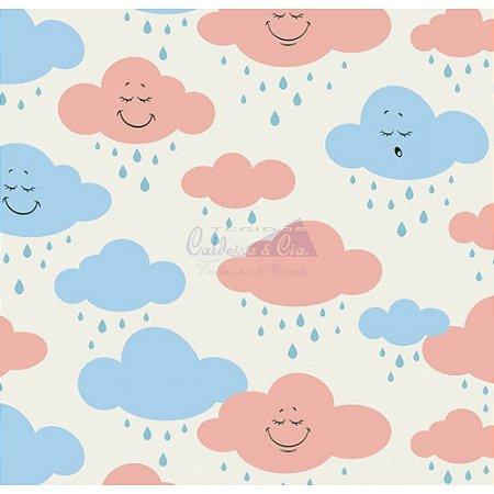Tricoline Estampado Nuvem Cloud - Cor-02 (Azul com Salmão), 100% Algodão, Unid. 50cm x 1,50mt
