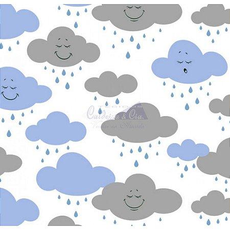 Tricoline Estampado Nuvem Cloud - Cor-01 (Azul com Cinza), 100% Algodão, Unid. 50cm x 1,50mt