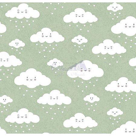 Tricoline Estampado Nuvem - Cor-12 (Verde), 100% Algodão, Unid. 50cm x 1,50mt