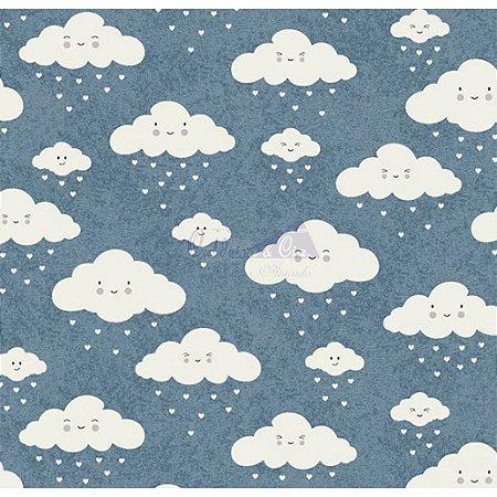Tricoline Estampado Nuvem - Cor-10 (Jeans), 100% Algodão, Unid. 50cm x 1,50mt