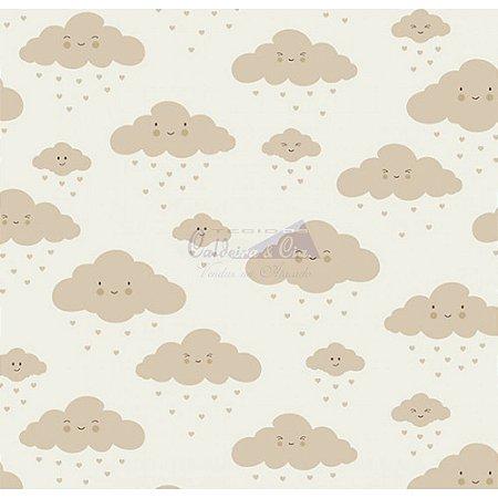 Tricoline Estampado Nuvem - Cor-08 (Bege), 100% Algodão, Unid. 50cm x 1,50mt