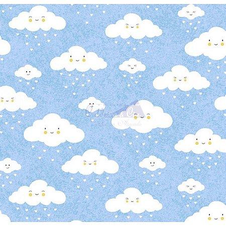 Tricoline Estampado Nuvem - Cor-07 (Azul), 100% Algodão, Unid. 50cm x 1,50mt