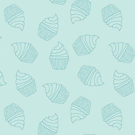 Tricoline Contorno de Cupcakes Acqua, 100%Alg, 50cm x 1,50mt
