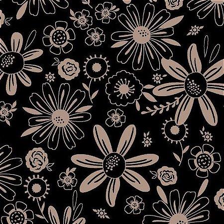 Tricoline Floral Esperança Fund Preto 100% Alg, 50cm x 1,50m