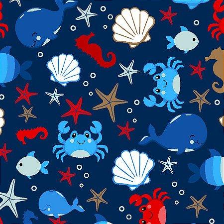 Tricoline Vida no Mar, 100% Algodão, 50cm x 1,50mt