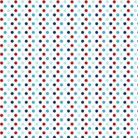 Tricoline Bolinhas Tricolores, 100% Algodão, 50cm x 1,50mt
