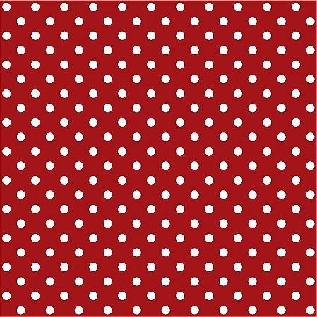 Tricoline Poá Médio Vermelho c/ Bolinha Branca 100% Algodão unid 50cm X 1,50mt