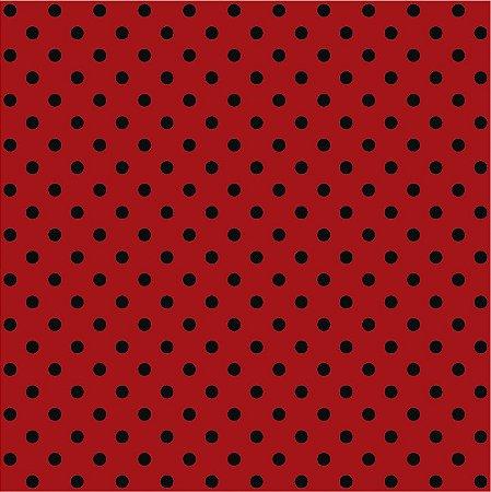 Tricoline Poá Médio Vermelho c/ Bolinha Preta 100% Algodão unid 50cm X 1,50mt