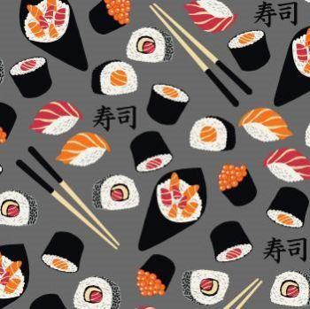 Tricoline Sushi Cinza, 100% Algodão, Unid. 50cm x 1,50mt