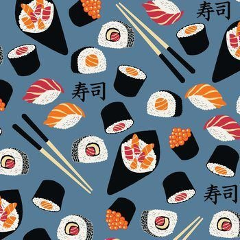 Tricoline Sushi Azul, 100% Algodão, Unid. 50cm x 1,50mt