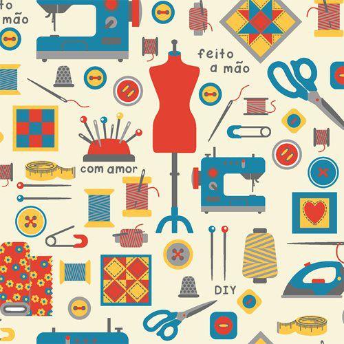Tricoline Costura Feito a mão - Claro, 100% Algodão, Unid. 50cm x 1,50mt