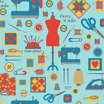 Tricoline Costura Feito a mão - Azul, 100% Algodão, Unid. 50cm x 1,50mt