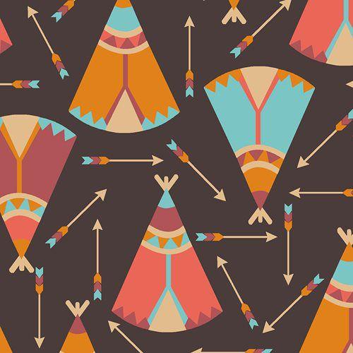 Tricoline Ocas e Flechas Índios - Marrom, 100% Algodão, Unid. 50cm x 1,50mt