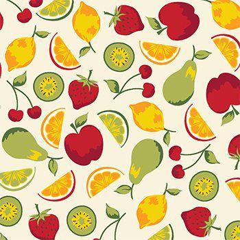 Tricoline Salada de Frutas - Claro , 100% Algodão, Unid. 50cm x 1,50mt