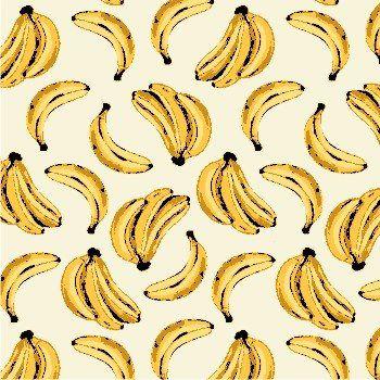 Tricoline Bananas Tropical - Claro , 100% Algodão, Unid. 50cm x 1,50mt