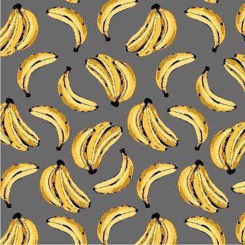 Tricoline Bananas Tropical - Cinza , 100% Algodão, Unid. 50cm x 1,50mt