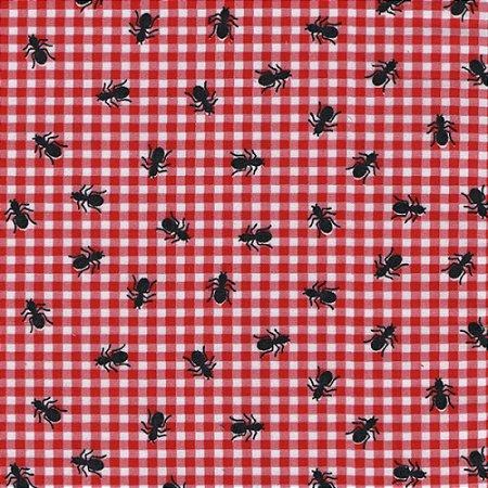 Tricoline Pic Nic com Formigas, 100% Algodão, Unid. 50cm x 1,50mt