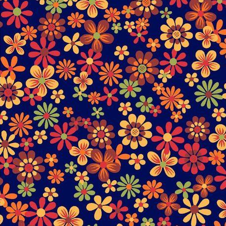 Tricoline Florzinha Cocoricó - Marinho, 100% Algodão, Unid. 50cm x 1,50mt