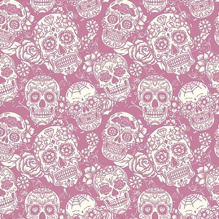 Tricoline Caveirinhas Mexicanas Rosa, 100% Algodão, Unid. 50cm x 1,50mt